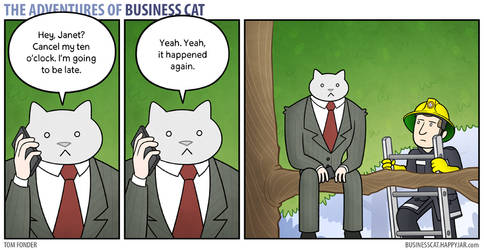 The Adventures of Business Cat - Running Late by tomfonder
