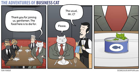 The Adventures of Business Cat - Lunch by tomfonder