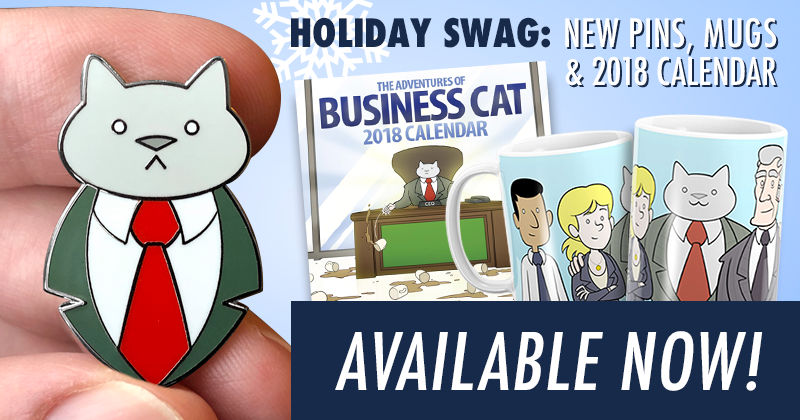 Business Cat Pins and Other New Merch
