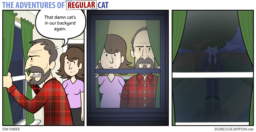 The Adventures of Regular Cat - Backyard by tomfonder