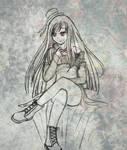 Goth phone girl -sketch