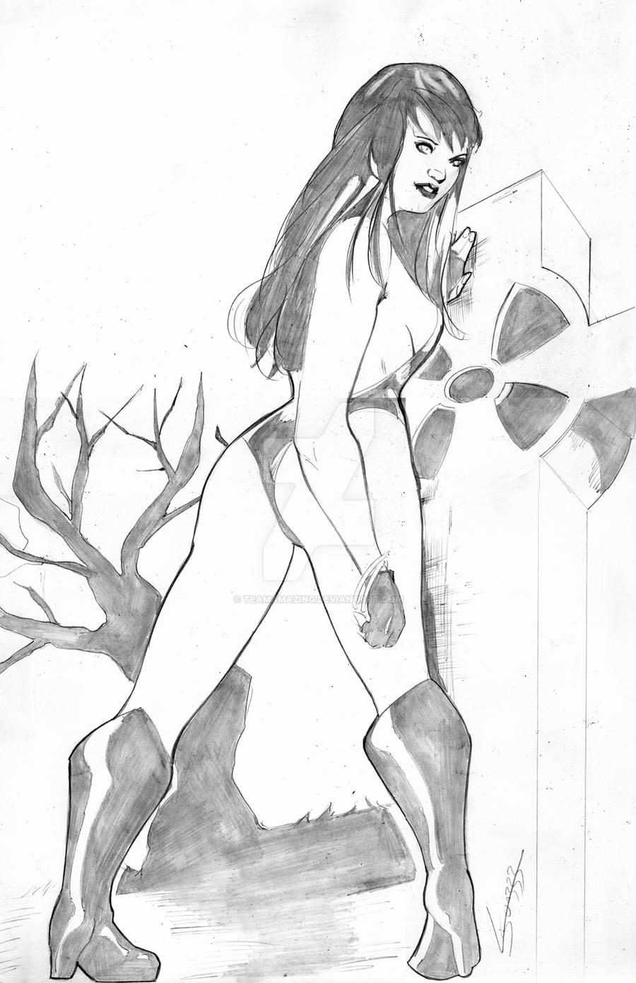 Vampirella at the graveyard by TeamAmazing
