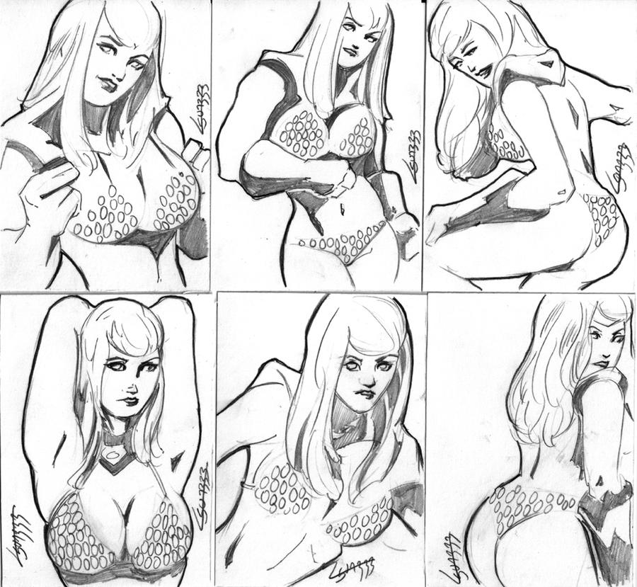 Red Sonja sketch card set by TeamAmazing