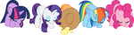 The Mane 5 Bowing by xHalesx