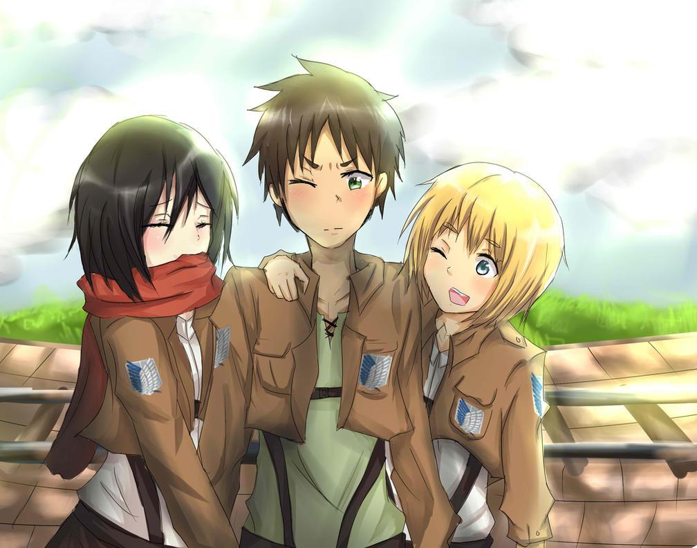 Mikasa eren armin by nyaku dono on deviantart - Eren and mikasa wallpaper ...