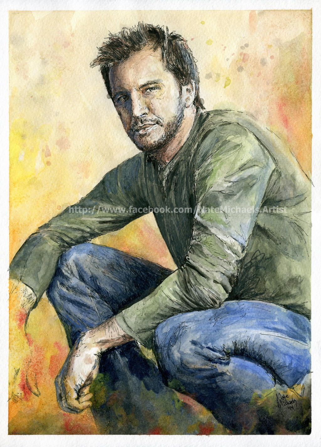 Luke Bryan - Watercolor and Ink - Portrait by NateMichaels ...