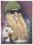 Billy Gibbons / ZZ Top - Watercolor + ink-Portrait