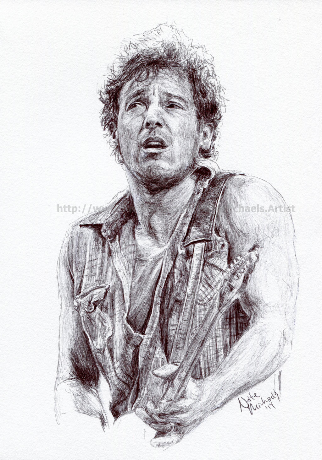 Bruce Springsteen Pen And Ink Portrait By Natemichaels