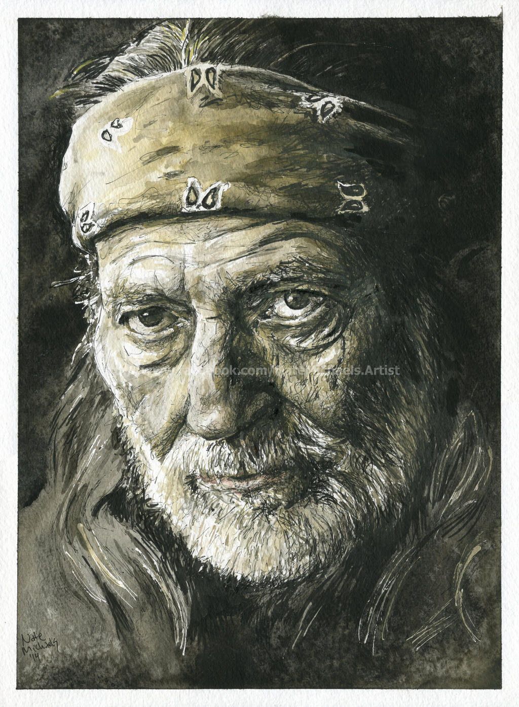 Willie Nelson - Watercolor and Ink - Portrait by ...