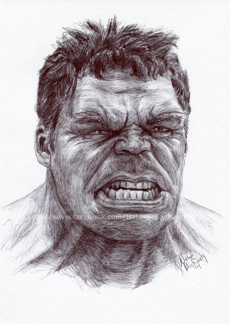 345e59ee6 The Hulk - The Avengers - Pen and Ink Portrait by NateMichaels on ...