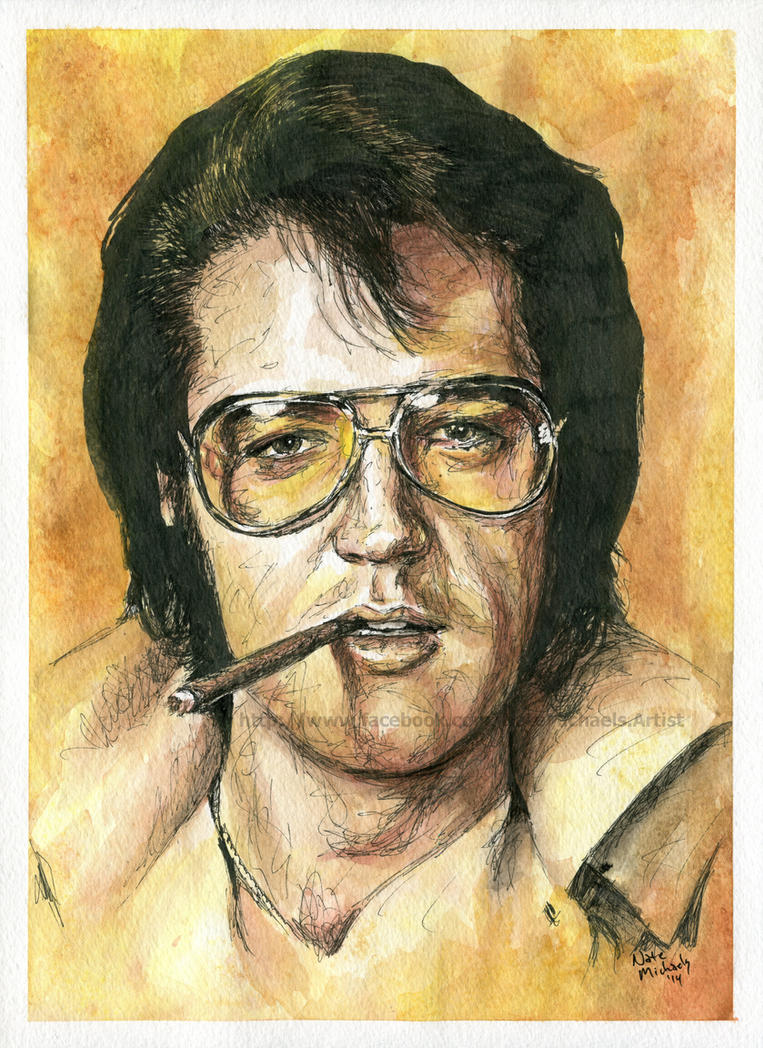 Elvis Presley - Watercolor and ink - Portrait by ...