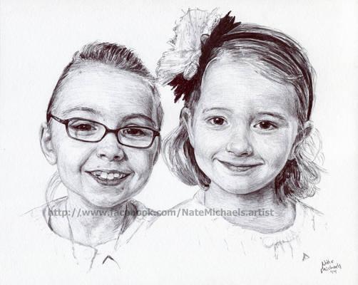 Sisters - Ink Portrait