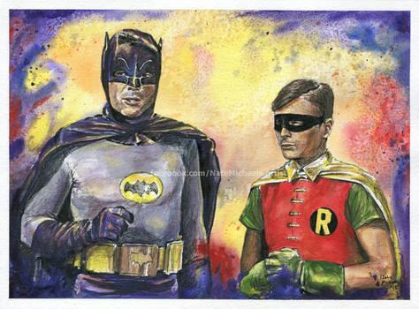 Batman And Robin - Mixed Media Portrait