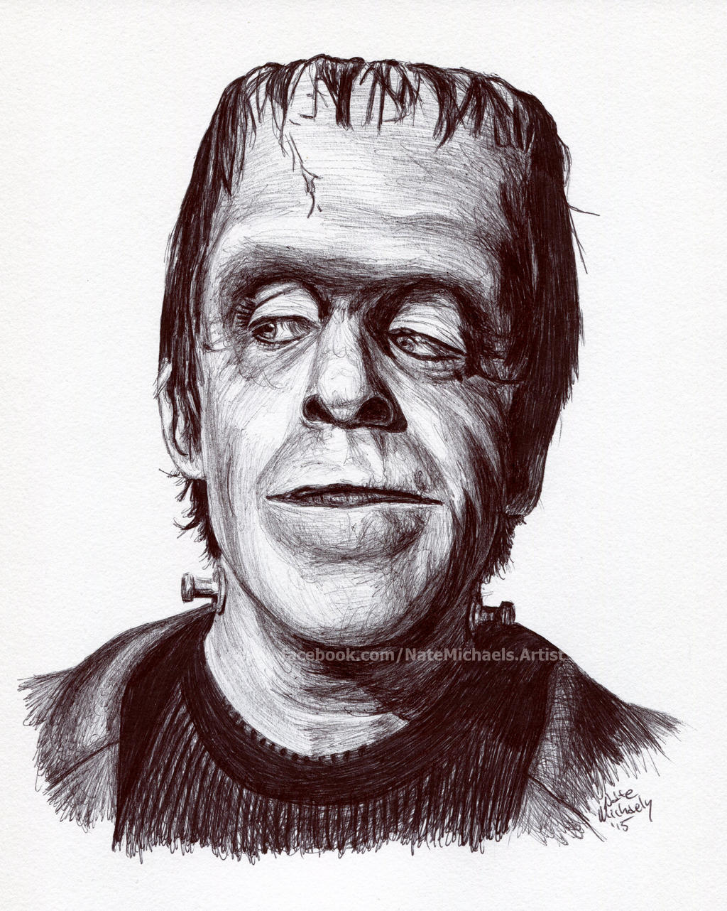 Herman Munster Ink Portrait By Natemichaels On Deviantart