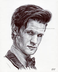 Doctor Who - Matt Smith - Ink Portrait by NateMichaels
