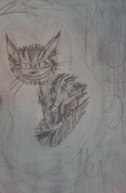 Kot z Cheshire (rysunek olowkiem) by JudytaDragon