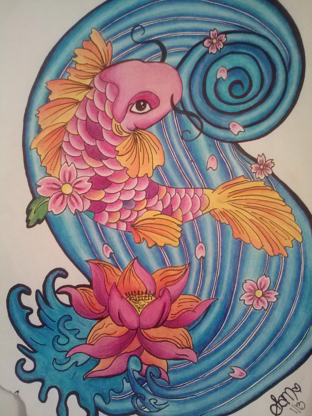 Koi Fish And Lotus Flower By Samanthalyn1 On Deviantart