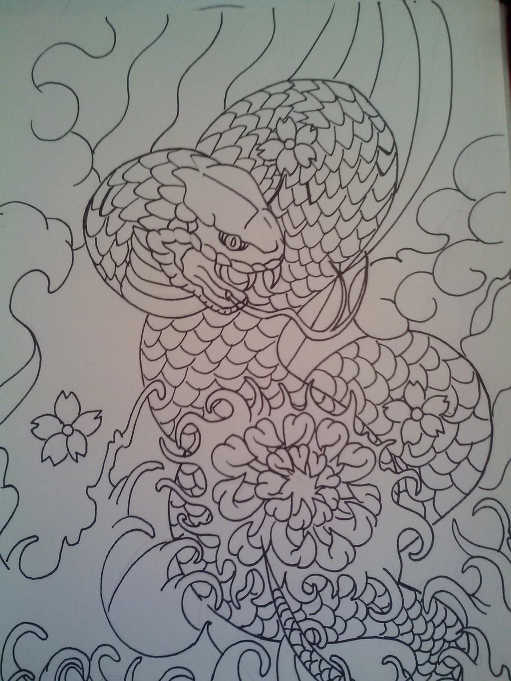 Tattoo Flower Outline Snake and lotus flower tattoo