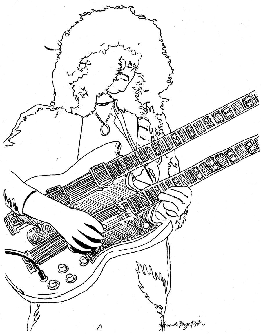 Jimmy Page Coloring Amandadelonge Jpg 900x1153 Rock Guitar Sheet
