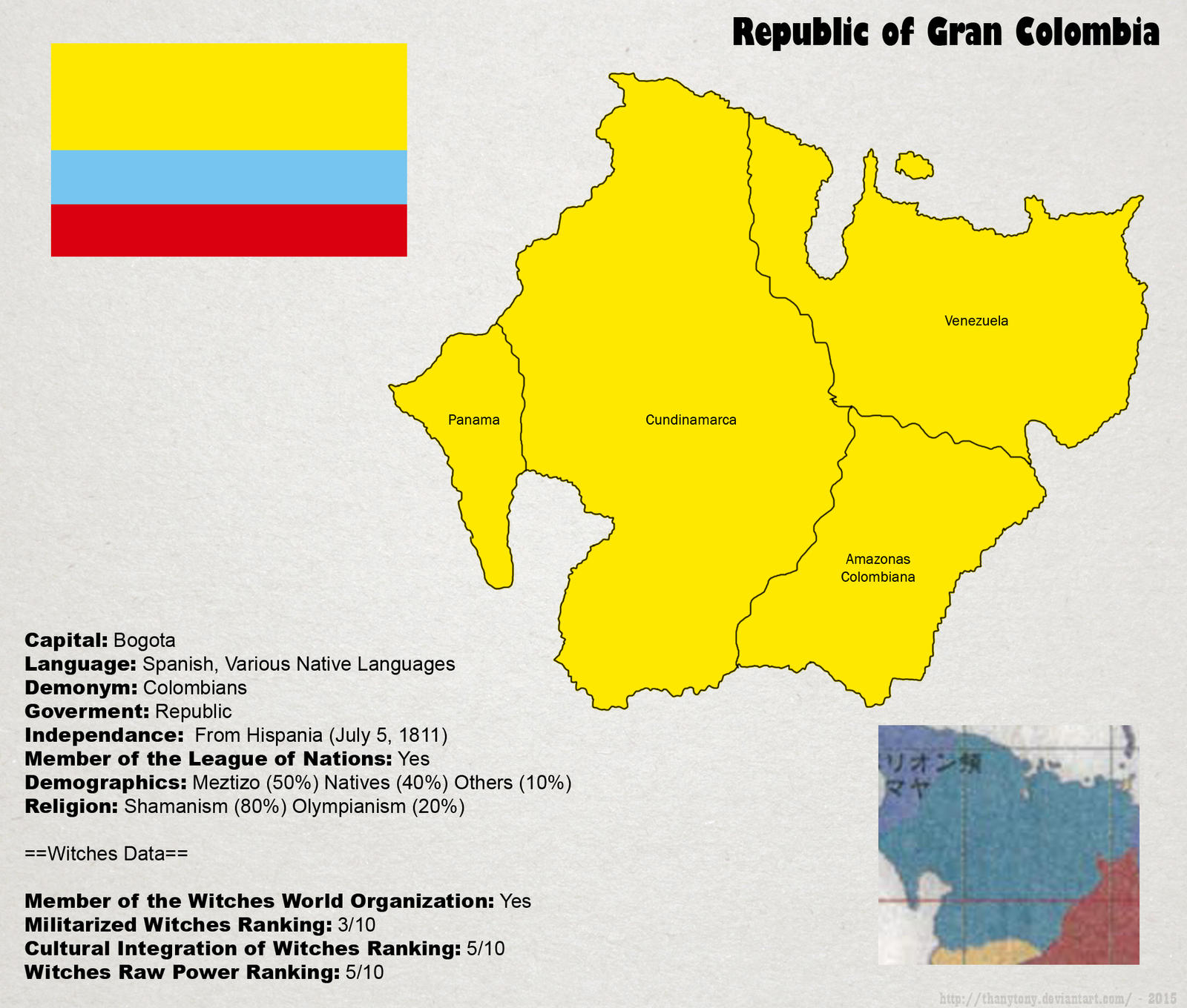 SW: Map of Gran Colombia by ThanyTony