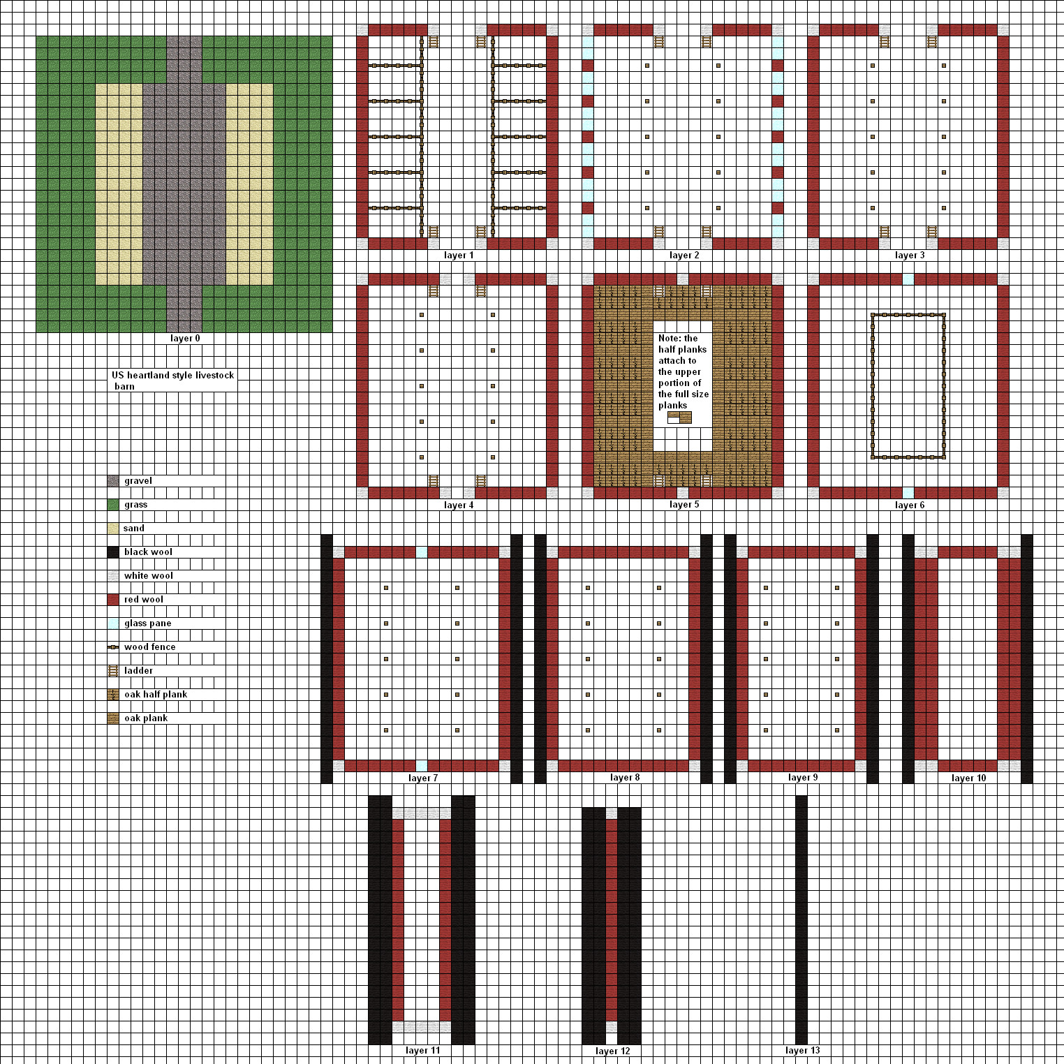 Woodworking blueprints for a barn in minecraft plans pdf for Barn blueprint