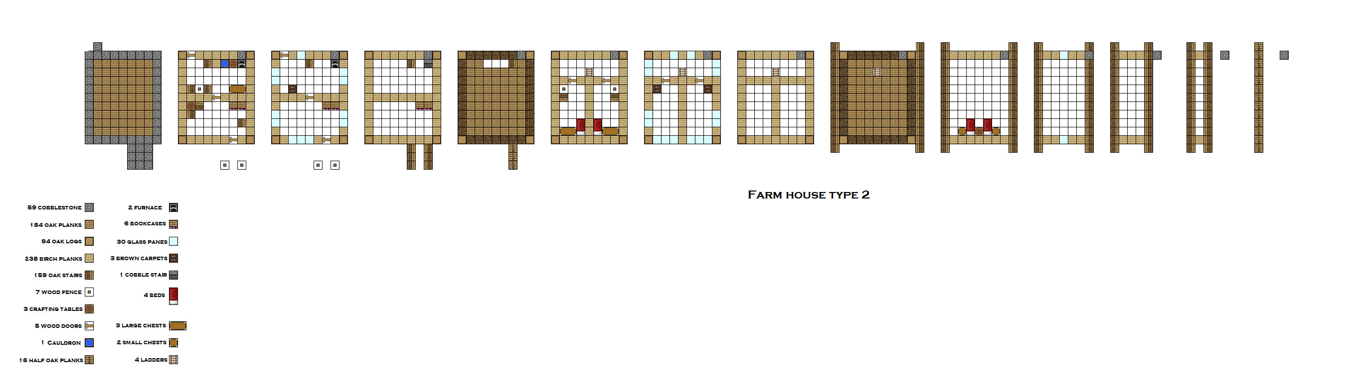 Minecraft House Blueprints Layer By Layer Mk 2 Farmhouse For 64 X 64 Farm By Coltcoyote On Deviantart