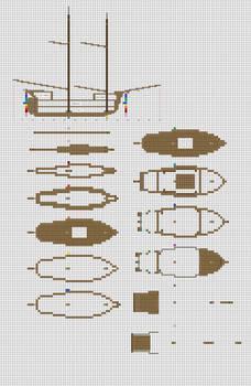 Minecraft sailing Brig plans pg1 hull