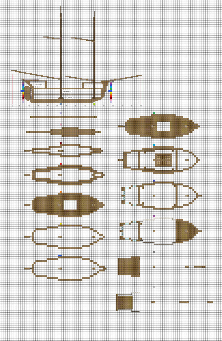 Minecraft Sailing Brig Plans Pg1 Hull By Coltcoyote On Deviantart