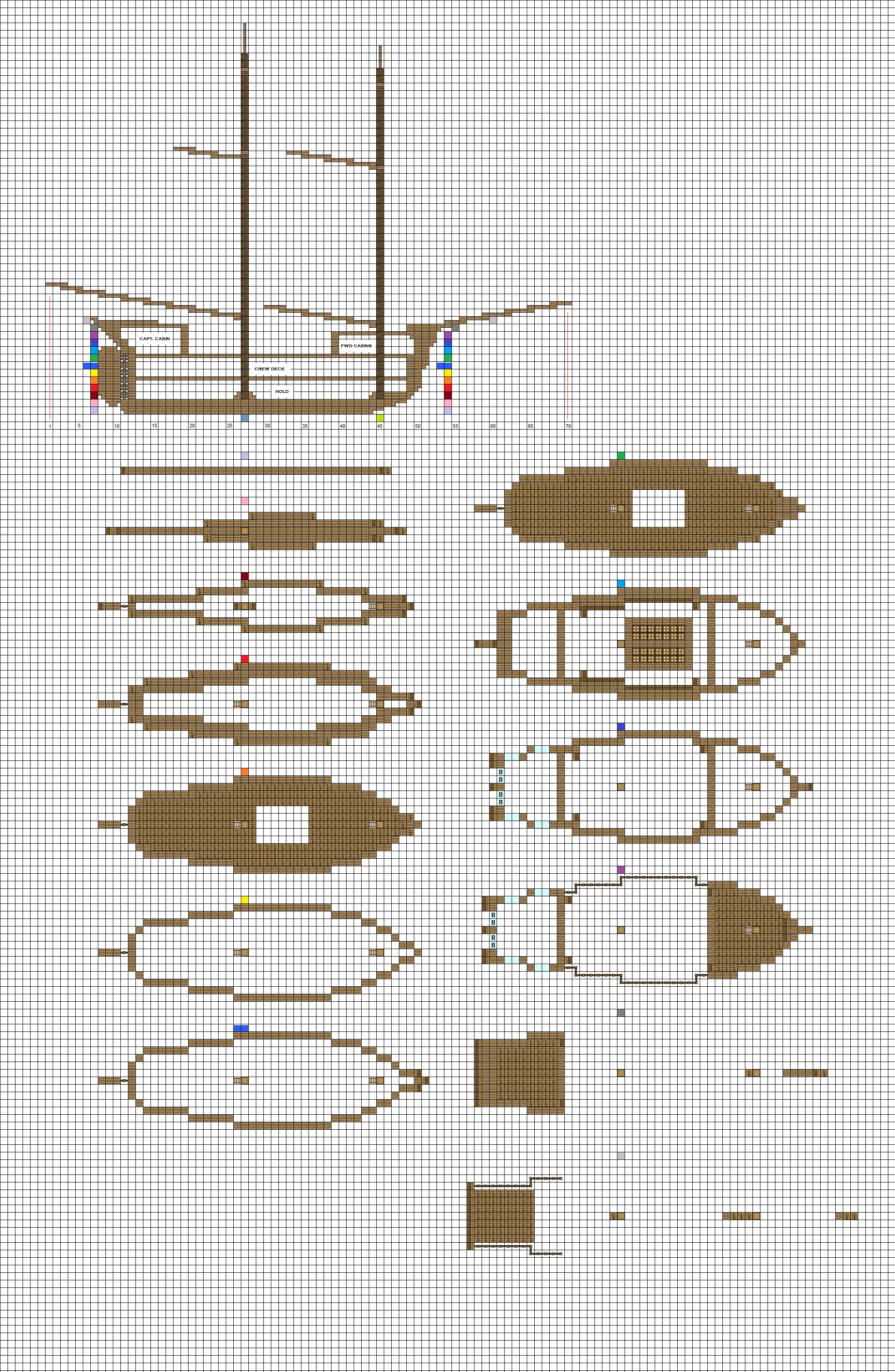 ColtCoyote 27 13 Minecraft Sailing Brig Plans Pg1 Hull By ColtCoyote
