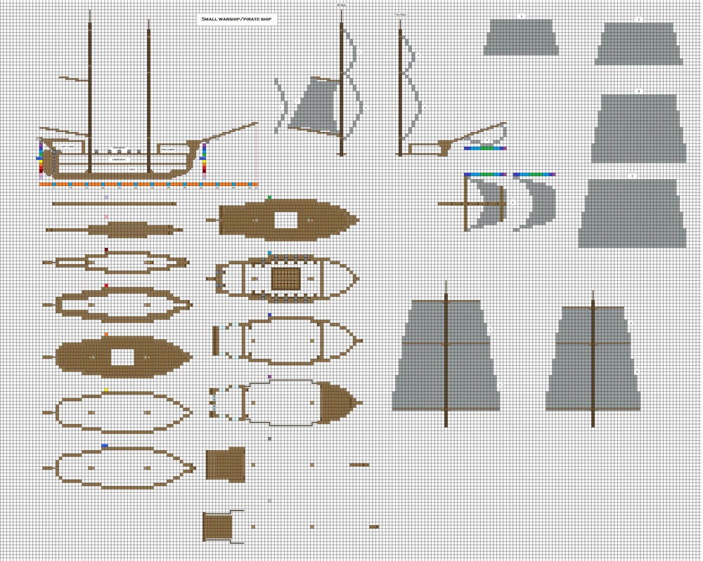 Minecraft small pirate warship 1 wip by coltcoyote on for Building blueprint maker