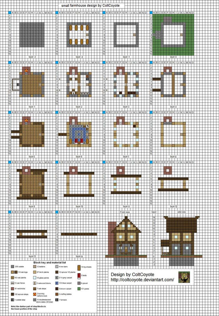 как построить такой же дом большой как в деревне в майнкрафте схема #2
