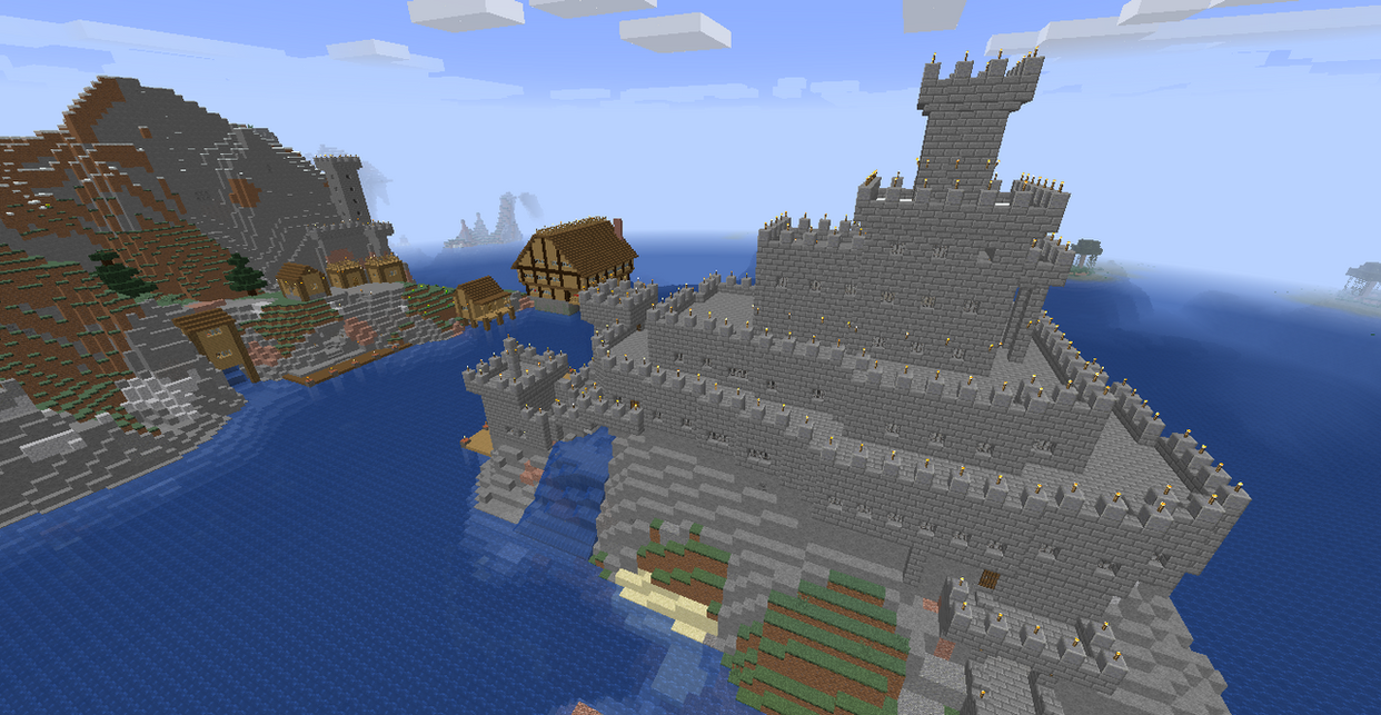 Island Castle and village by ColtCoyote