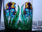 a vase of irises