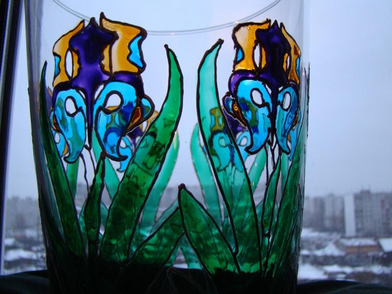 a vase of irises by AksaStrig