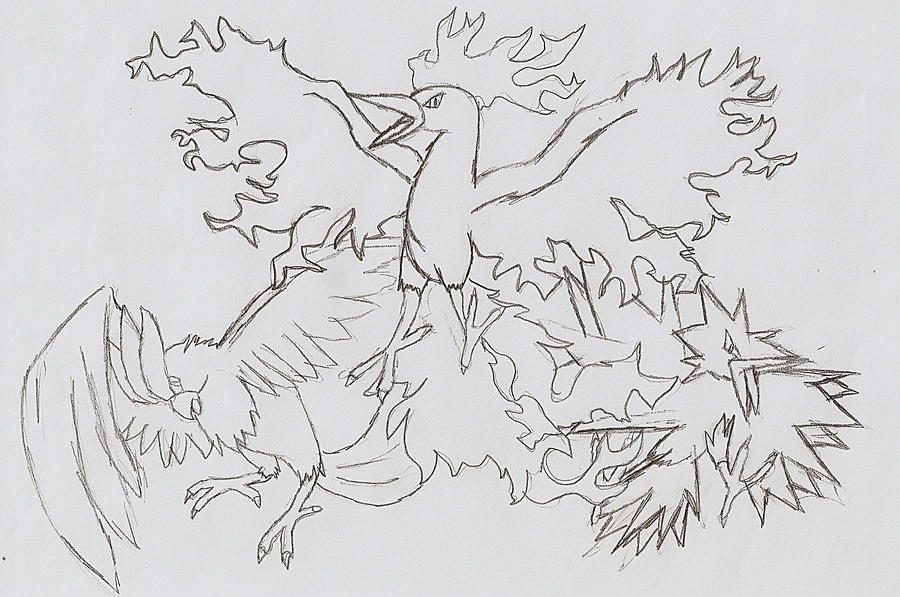 Articuno moltres and zapdos by duskpaw on deviantart for Zapdos pokemon coloring pages