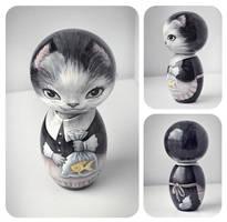 Kitty kokeshi by ToughLittleUrchin