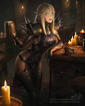 World of Warcraft Blood Elf in Tavern