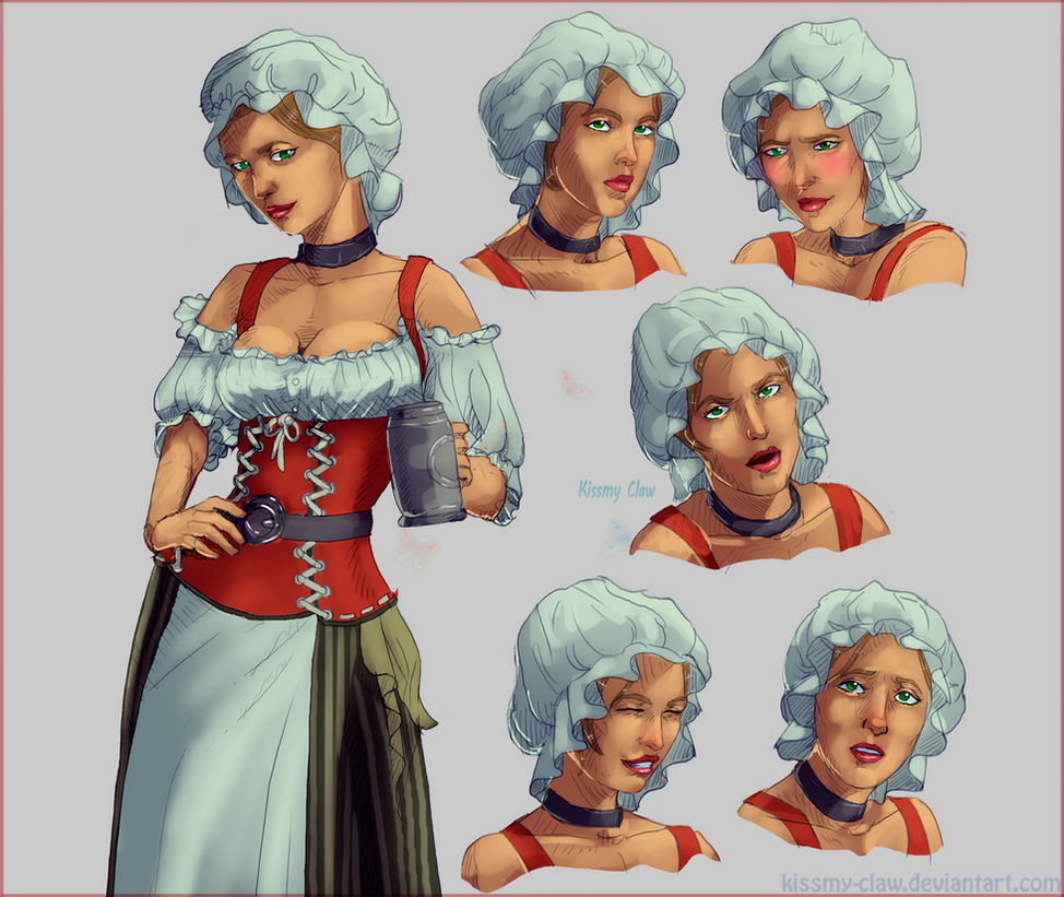 Barmaid, character sprite (CMS) by Kissmy-Claw