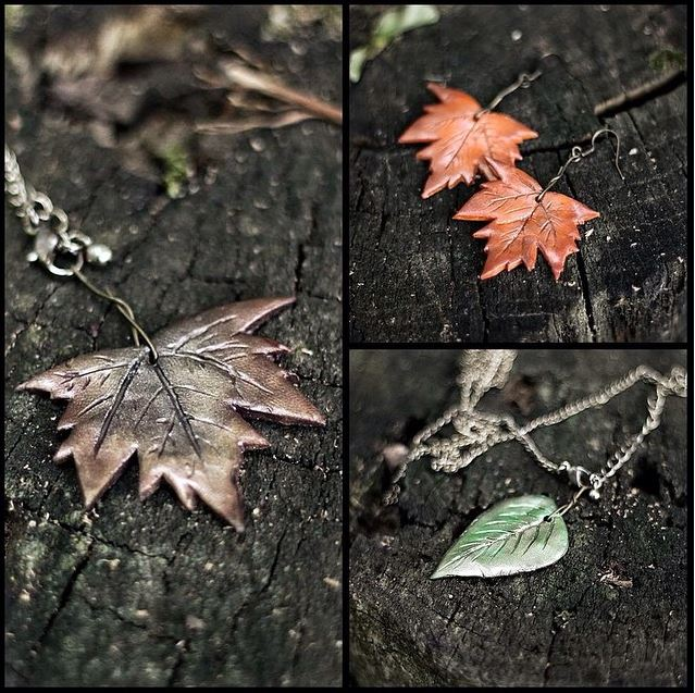 Polymer Clay Leaf Jewelry by Schlammkrabbe