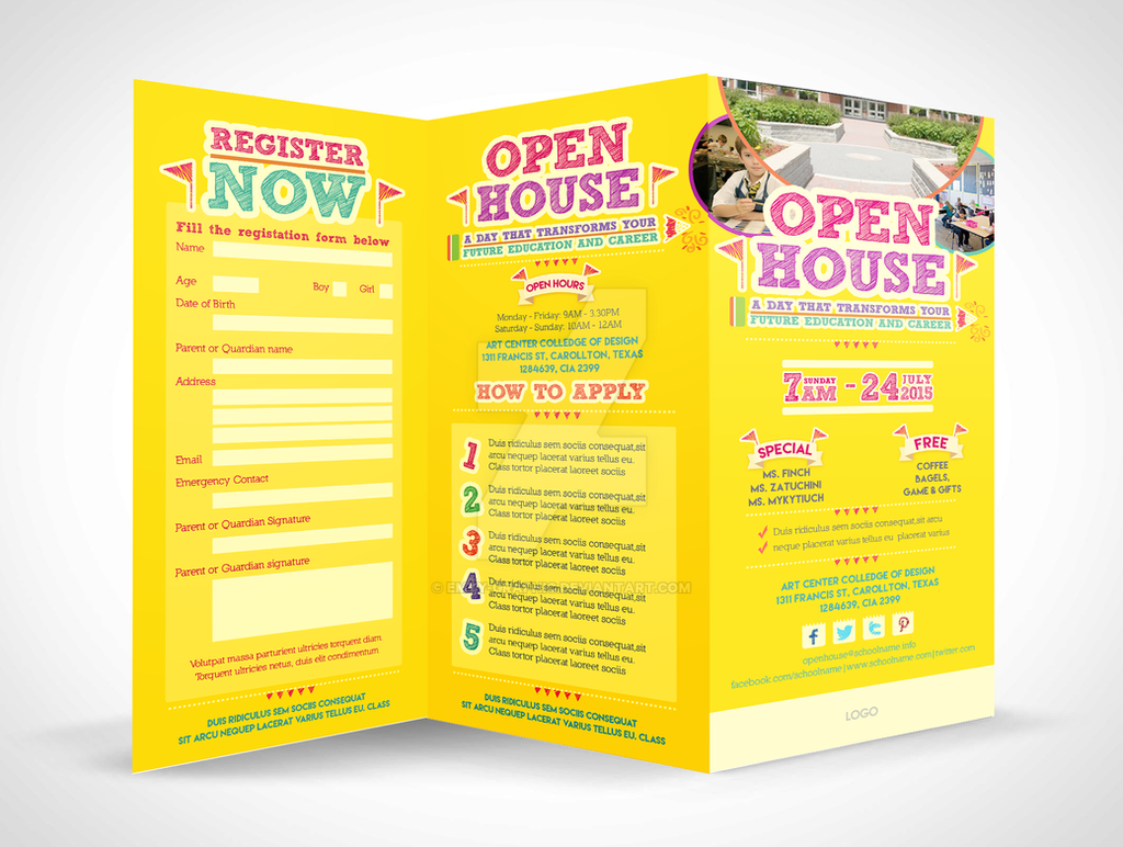 House tri fold brochure gallery for Open house brochure template