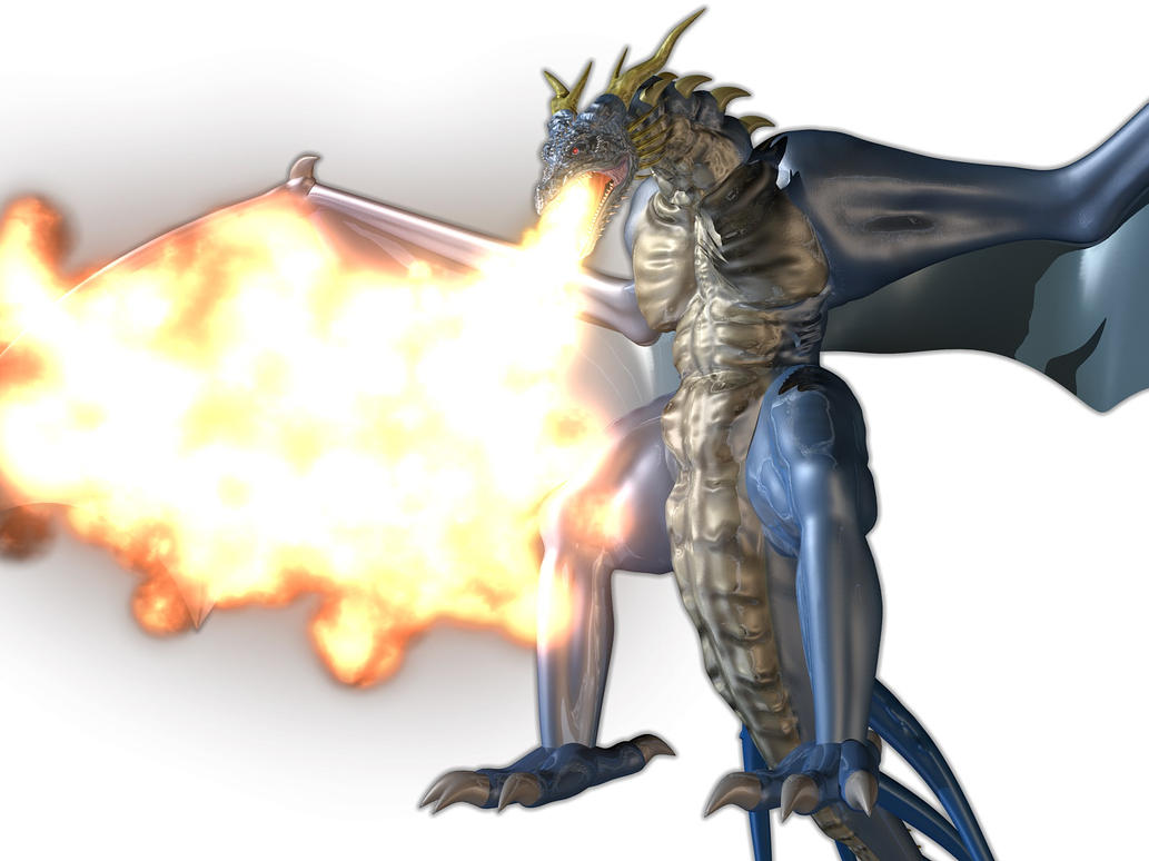 Fire-breathing blue dragon by AkaiGaru