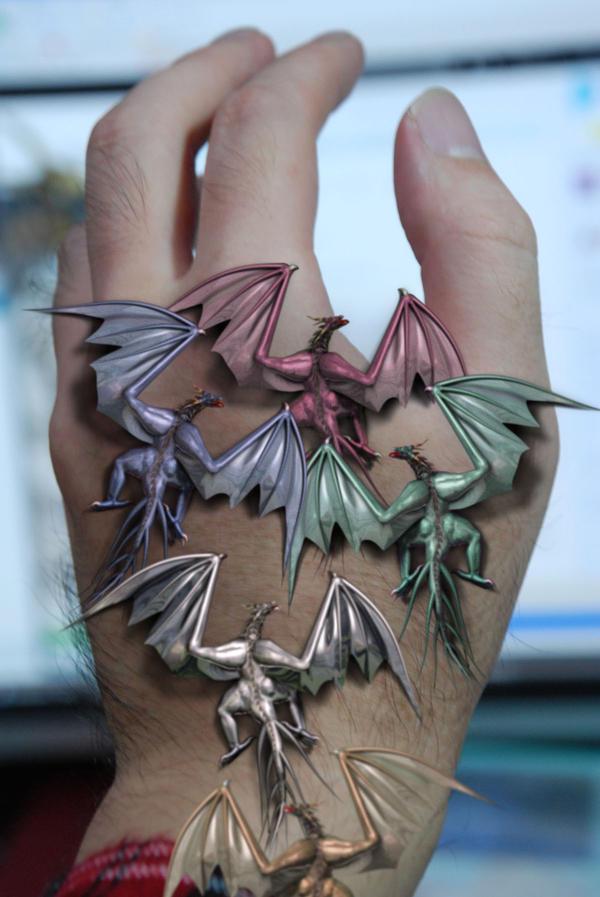 Tiny Metallic Dragons by AkaiGaru