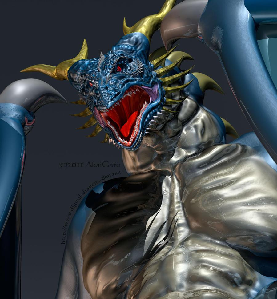 Blue wyvern by AkaiGaru
