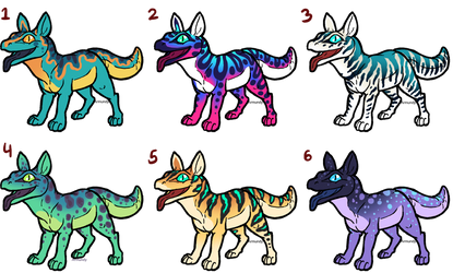 Gecko Dog Adoptables (5/6 open) by armundy