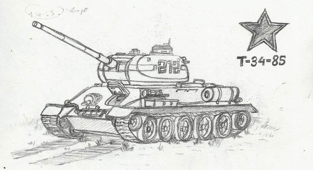 T-34-85 Sketch by Xandier59