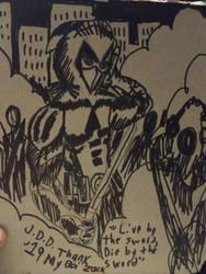 A Quick Kunai Sketch on a Mailer by jddishmonart