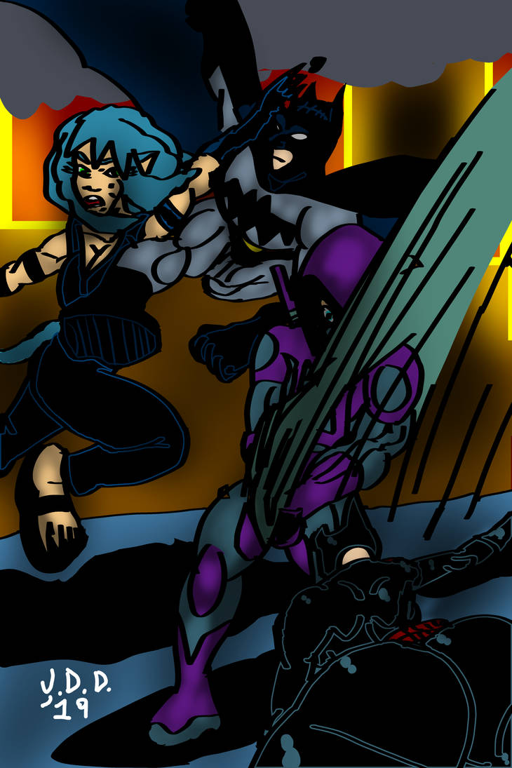 Batcat vs Kunekoneko by jddishmonart