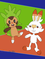 Chespin and Scorbunny by AsteriskDatBoi