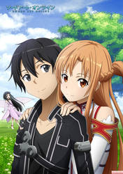 SAO - Kirito, Asuna and Yui by IridalAoi