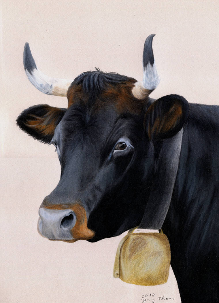 Tux cow (coloured pencil)